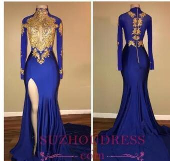 2018 African Arabic Gold Appliques Sexy Prom Dresses Mermaid Vintage Long Sleeves High Thigh Split Floor Length Black Girls Evening Gowns