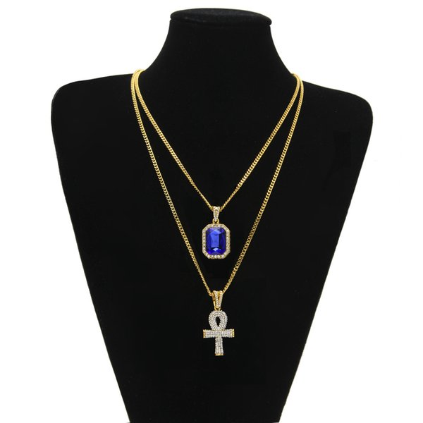 Egyptian Ankh Key of Life Bling Rhinestone Cross Pendant With Red Ruby Pendant Necklace Set Men Fashion Hip Hop Jewelry Free shipping