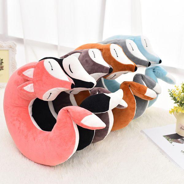 Cute Fox Animal Cotton Plush U Shape Neck Pillow Travel Car Home Pillow Nap Travel Comfortable Cushion Soft Pillows