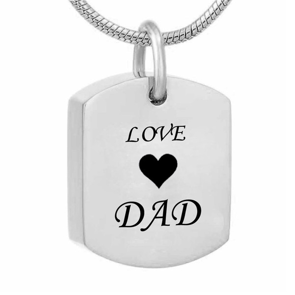 Square tag Cremation Urn Necklace for Ashes Urn Jewelry Memorial Pendant with Fill Kit - Love Grandpa Grandma