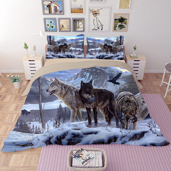 Lion Wolf Bedding Set Twin Full Queen King Double Size Duvet Cover Doona Cover Quilt Pillow Cases 3PCS Snow Wolf