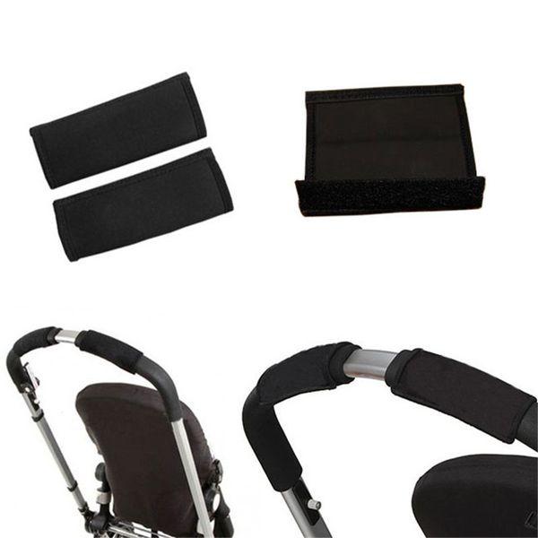 2pcs/Pair New Baby Stroller Accessories Carriage Front Handle Pram Black Neoprene Magic Tape Bumper Bar Cover k Arabasi