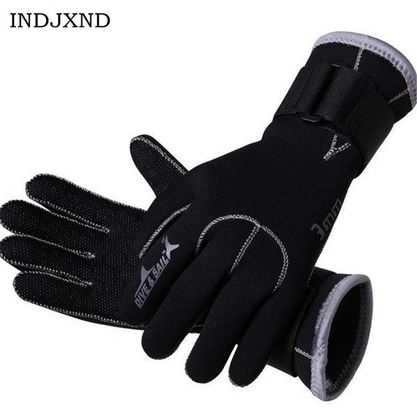 INDJXND 3MM Neoprene Scuba Dive Gloves Mittens Snorkeling Equipment Anti Scratch Keep Warm Wetsuit Material Winter Spearfishing
