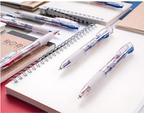 2 PCS dos desenhos animados multi-cor caneta esferográfica 2 em 1 tinta preta vermelha criativa bonito caneta penpressed cor de óleo papelaria personalizada