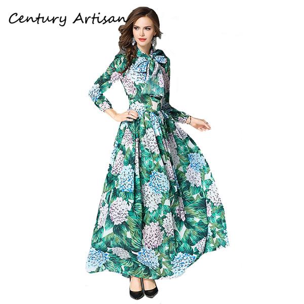 Cian 2018 moda outono longo dress mulheres elegante flor impresso maxi dress feminino casual vintage com cinto vestido de baile party dressx82302