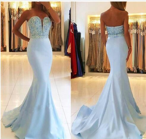 Light Sky Blue Mermaid Long 2018 Prom Dresses Sweetheart Beaded Top Sweep Train Teens Girls Formal Prom Party Gowns Latest Hot Selling