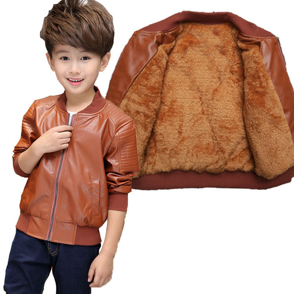 3-12 Yrs, children winter clothes coat, boy winter fashion thick velvet warm pu leather jacket coat,in stock Y18102608