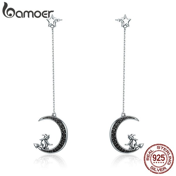 wholesale Real 925 Sterling Silver Magic Witch in Moon Star Black CZ Long Drop Earrings for Women Sterling Silver Jewelry SCE287