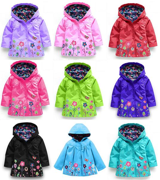 sale retailer los angeles 2019 best Floral Kids Rain Jacket Hooded Girls Raincoats Long Sleeves Baby Girls  Waterproof Coat 17072404 Kid Jackets Rain Jackets For Kids From Smartgrass,  ...