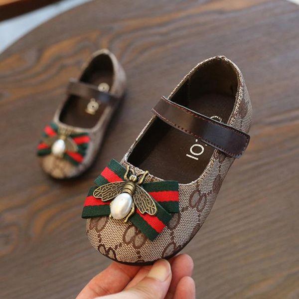 Enfant fille chaussures Printemps automne noeud papillon grandes filles Sandales Baotou enfants douce princesse chaussures bébé ballet marron taille 21-30