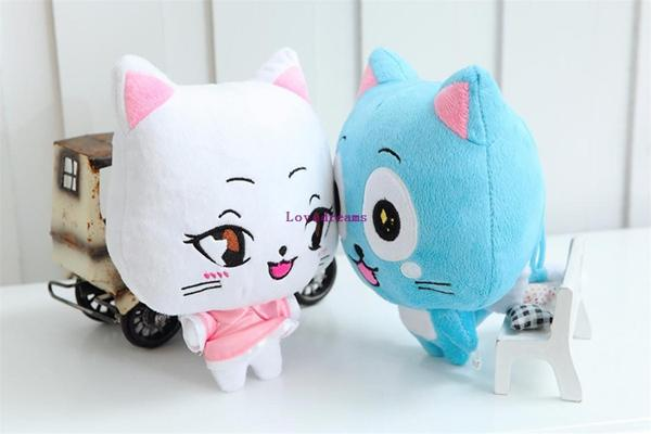 4pcs/lot 20cm Anime Fairy Tail Happy & Charles phone Straps Plush Toy Kawaii Happy & Charles Cat Stuffed Toys Doll Figure Toy for Kids Gifts