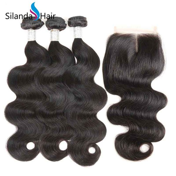 Silanda Hair Discounted Factory Price Natural Color Body Wave Brazilian Remy Human Hair Bundles With 4x4 Lace Closure For Sale Free Shipping