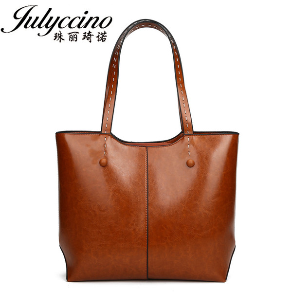 JULYCCINO Leather Handbags Big Women Bag High Quality Casual Female Bags Trunk Tote Spanish Brand Shoulder Bag Ladies Large