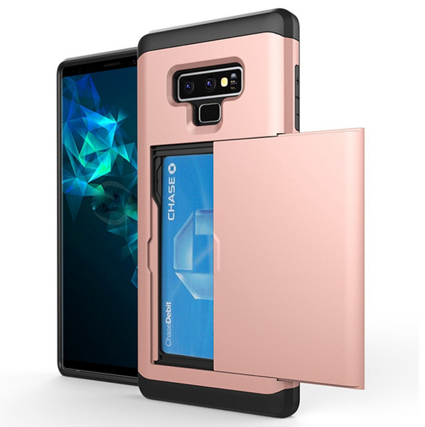 For Samsung Note 9 Note 8 S9 S9 Plus G530 Case Plastic TPU Armor Cover Card Holder Phone Bag Case