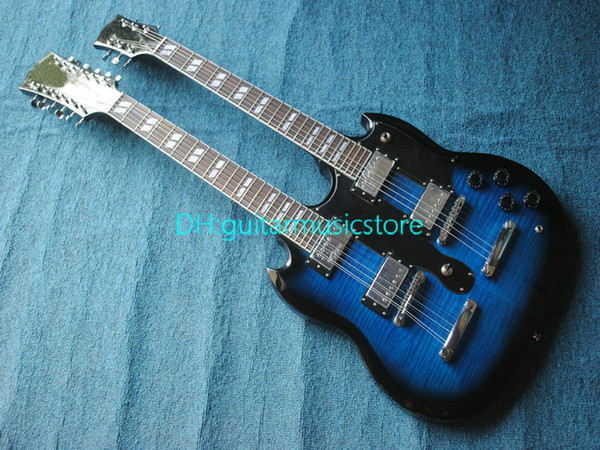 Wholesale - blue Classic Double Neck 1275 Custom Electric Guitar 6 strings and 12 strings Free(More color can be customized ) Free Shipping
