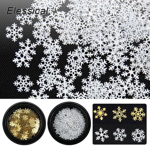 Elessical 1 Bottle Gold Silver Nail Glitter Copper Snowflake Christmas Nail Art Decoration New Year Sequins DIY Manicure Tools