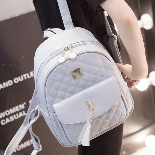 Women Fashion Casual Travel Backpack for Girls Black Grey Leather SchoolBag Backpack  Mochila Feminina Backpacks Shoulder Bags d251202e3cd1a