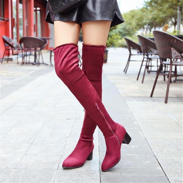2018 New Flock Leather Donna Stivali sopra il ginocchio Pelle scamosciata Thin High Heels Donna Scarpe Warm Size 36-39 Sexy Party lady Winter Boot