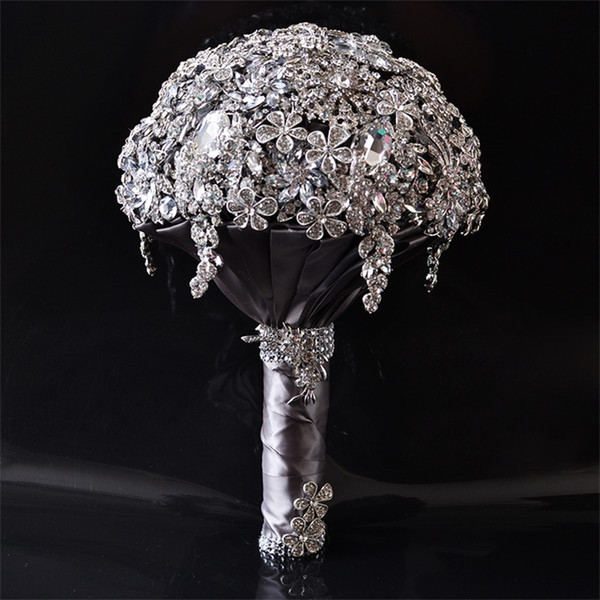 1pc/lot Gorgeous Crystal Luxury Bling Wedding Bouquet Sparkle Brooch Bouquet Wedding Accessory Artifical Flowers Bridal Bouquets