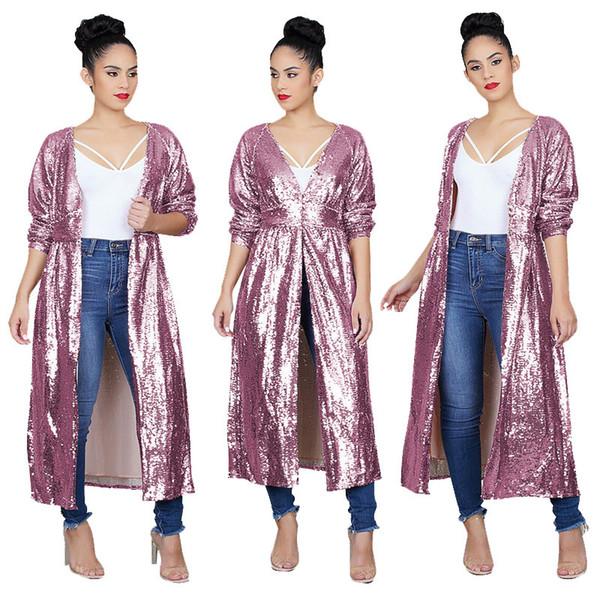 Lila Rosa Pailletten Spliced Mode Trenchcoats Herbst V-Ausschnitt volle Hülse lange Windbreaker Frauen bedeckt Taste Casual Outwea