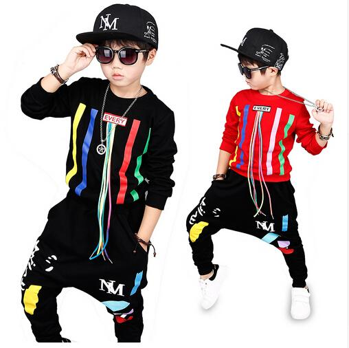 new spring autumn kids clothes sets children 2 pcs Hip hop suit Shirt coat + Harem pants baby boys sport suits Color bar
