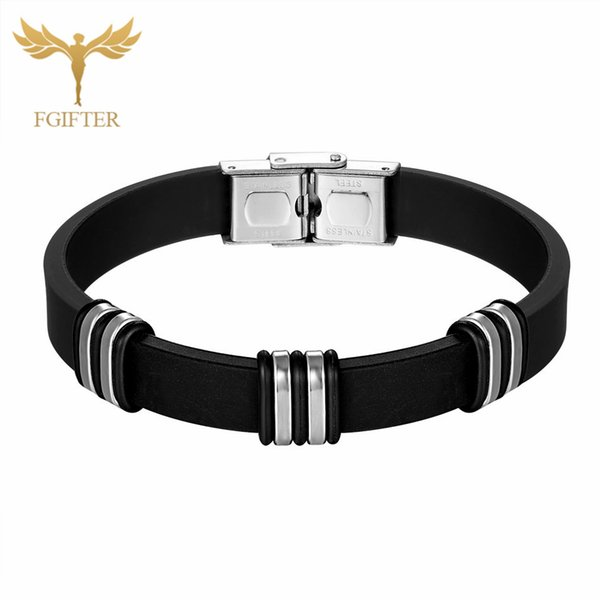 Teen Black Bracelet Bangle Jewelry Fashion Rubber Bracelet Men Wristband Stainless Steel Cuff Bracelets For Women Bangles