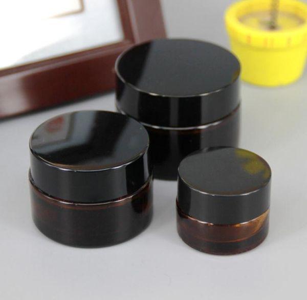 Tarro de cristal ambarino marrón 20g 30g 50g con la tapa negra, tarro cosmético de 30 gramos, embalaje para la crema del ojo de la muestra, botella de 30g SN400