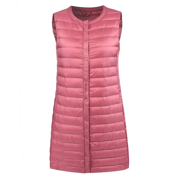 Autumn Winter New Arrival Ultra Light Down Vest Women Windproof Lightweight Warm Long Waistcoat Female Sleeveless Coat Plus Size
