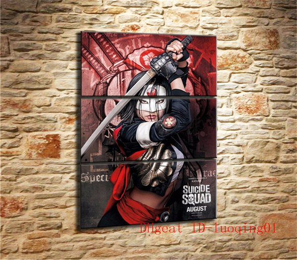Kalligraphie Selbstmord Squad, 3P Leinwand Stücke Home Decor HD gedruckt moderne Kunst Malerei auf Leinwand (ungerahmt / gerahmt)