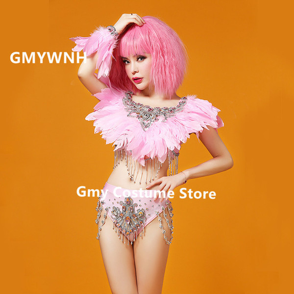 Z42 Pink feather ballroom dance costumes dj singer performance show dresses gogo bodysuit sexy bikini party wears outfit clothes gogo wears