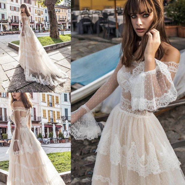 Fairy pinella pa aro 2018 champagne wedding dre e with leeve off houlder france lace prince church country bridal dre