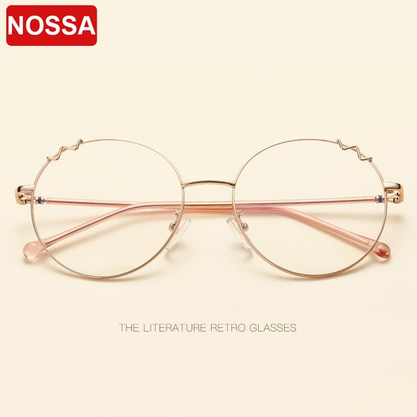 47dc77ae394 NOSSA new metal glasses frame cat ears round flat mirror men and women  personality literary cute