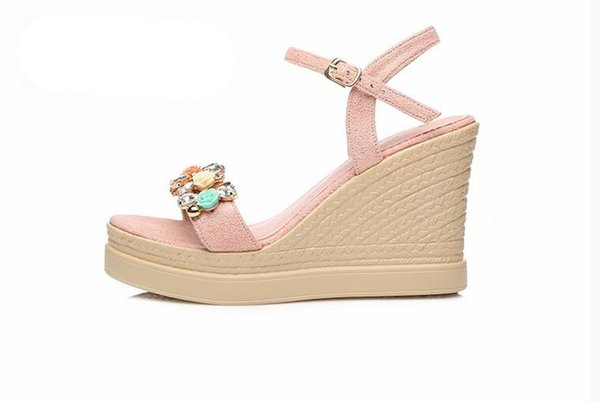 New red blue shoes women summer gladiator sandals platform shoes flower decor high heels wedges shoes crystal party Footwear