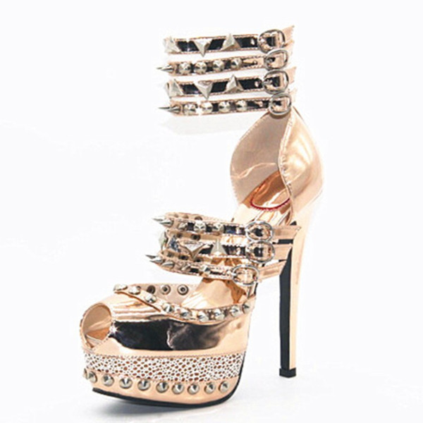 Legzen Super Stylish Sandals Sexy Platform Open Toe Thin High Heels Sandals Stylish Rivets Gold Party Shoes for Woman