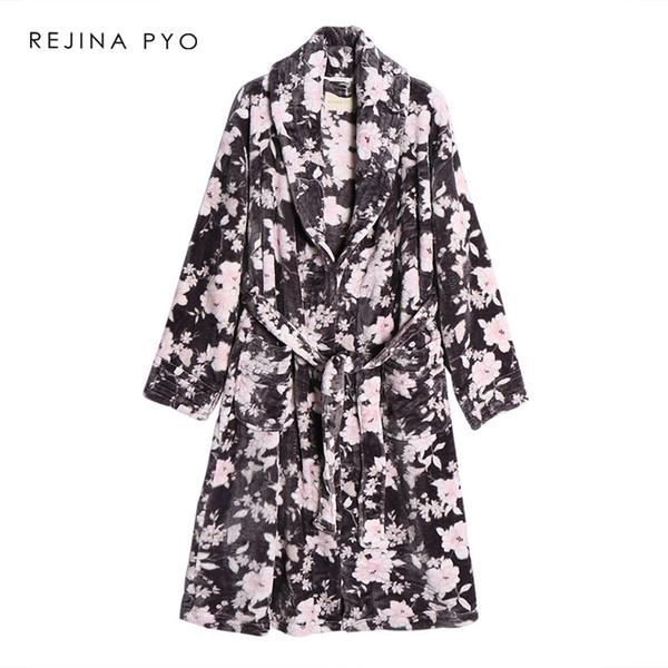 REJINAPYO Donna Velluto Sleepwear Robe Spessa Calda Stampa floreale Inverno Doccia Spa Veste femminile Bagno Accappatoio Dormire Camicia da notte