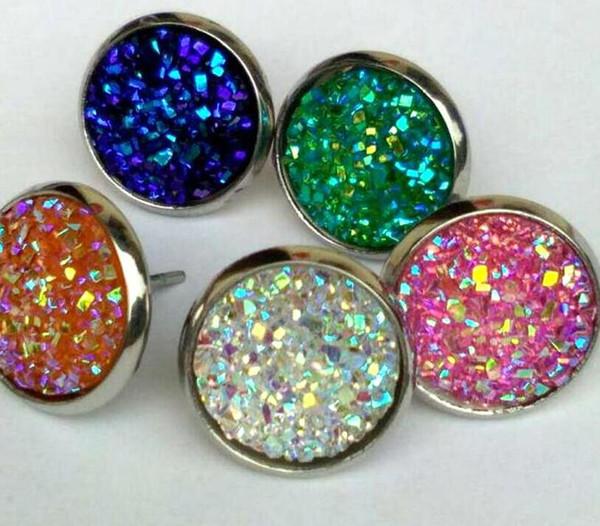 best selling 2020 Nice handmade resin round druzy stud earrings trendy simple stainless steel wholesaling resin stone earring for lady gift cheap