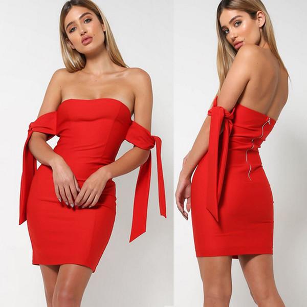 Compre Elegante Sexy Fuera Del Hombro Vestido Rojo Sin Espalda Corto Para Mujer Delgado Fiesta Vestidos Ajustados Mujeres Vestido De Verano 2018 A