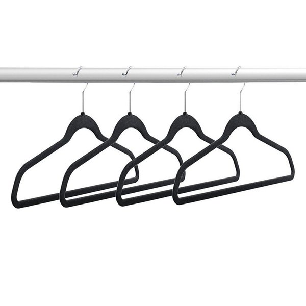 Multi-functional row of clothing store hangers with hook anti-slip flocking hangers without trace black hangers size 45cm
