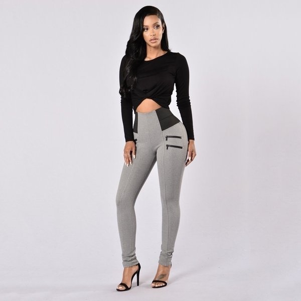 2018 Popular Women High Waist Casual Slim Fitness Leggings Skinny Stretchy Tight Pants Sports Active Wears Cheap FS5765