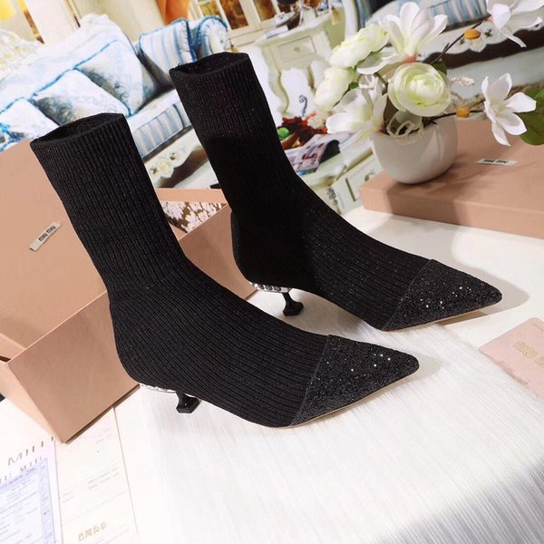 Italy MlU MlU Retail store Stretch Fabric high heel boots women bilngbilng Drill boots Electroplated sequins Casual boots 34-40 High 5.5cm