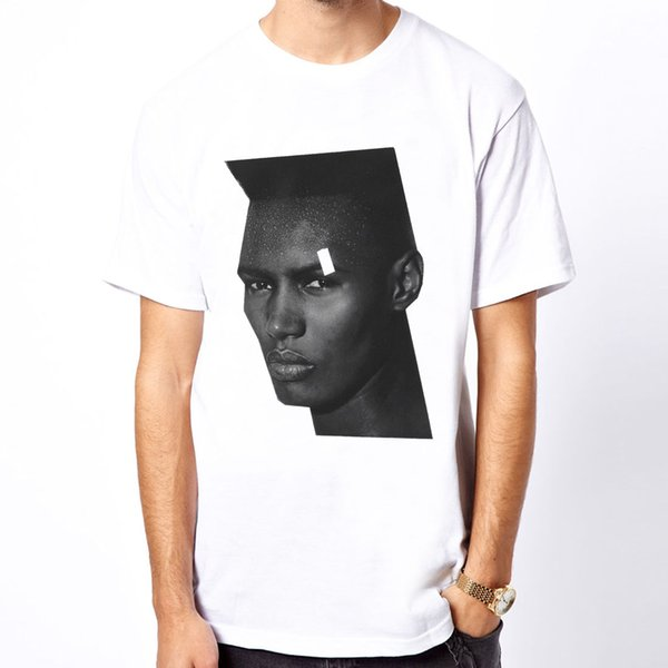 100% cotton casual Grace Jones-B/W 80s cele photo men white t-shirt O-neck Fashion Printed mens Cotton T-shirt Round Neck man's