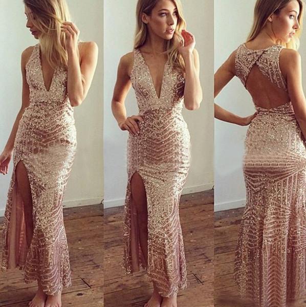 2018 paillettes bling bling cavigliera abiti da sera guaina sexy profondo scollo av spacco laterale vestidos de festa prom dresses ME038