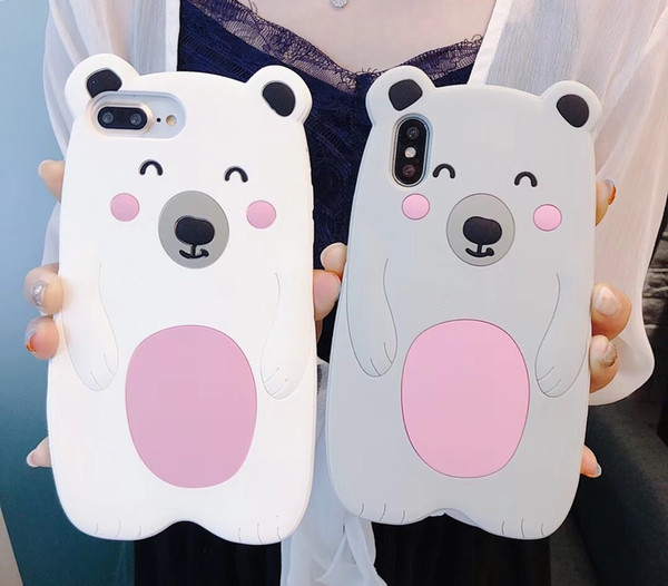 3D Cute Cartoon Silicone Polar Bear Phone Case for iPhone X 6 6S 7 8 Plus Fashion Cell Phone Back Cover Cases Shell