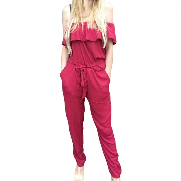 Jumpsuits 2018 Summer Ruffles Chiffon Overalls Sexy Casual One Shoulder Long Playsuits Rompers Women Jumpsuit Plus Size GV608