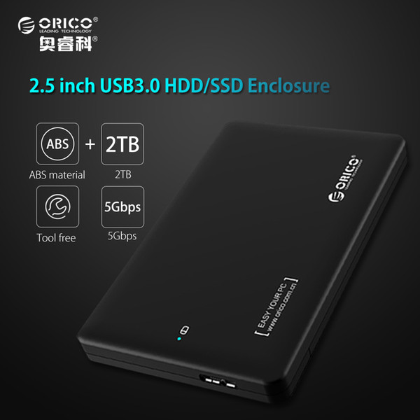 ORICO 2TB hdd rack tool free USB 3.0 to sata 3.0 box hdd ssd 2.5 7mm 9.5mm External Hard Drive Case for notebook (Only Case)