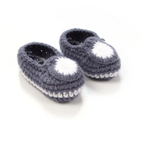 Wholesale- Fashion Handmade Baby Crochet Booties Knitted Baby Boy Shoes Newborn Socks 4 Colors 10 cm