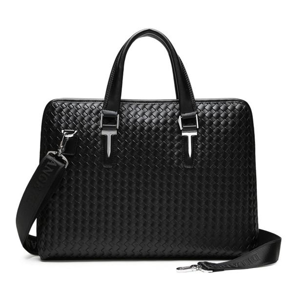 Men Business Weaving PU Leather Briefcase Male Travel Messenger Shoulder Portfolio Laptop Bags Causal Lawer Handbag Bolsa