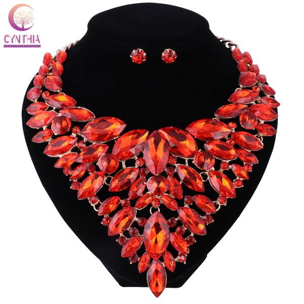 Romántico cristal rojo nupcial conjuntos de joyas Rhinestone pendientes de la boda conjuntos de cuello de compromiso