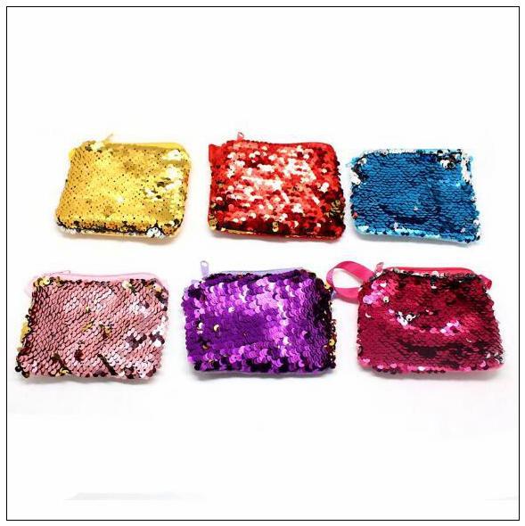 Lusso sirena paillettes borsa portamonete inverso velluto cordino portafoglio per bambini bambini festivo prom forniture cca9333 120 pz