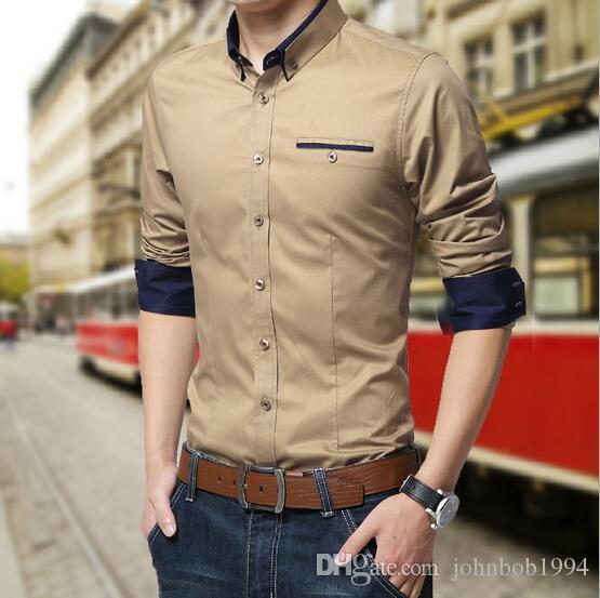 spring/autumn men Oxford shirts high quality Men's Slim Long Sleeve Shirts Luxury Casual Stylish Dress For Men Business Shirts M